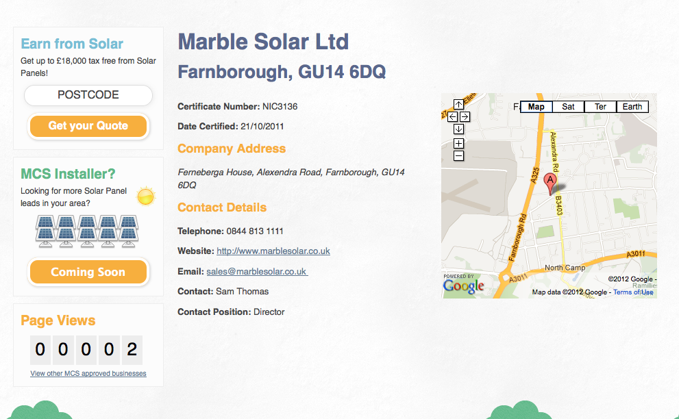 Screenshot of Discover Solar Detailed information of one of the 4,678 solar installers included on the Directory