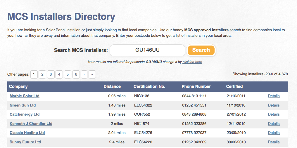 Screenshot of Discover Solar new Solar Installers Directory